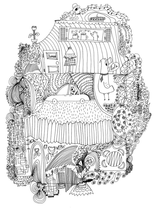 The Home - Pen & Ink Illustration by Virginia Kraljevic