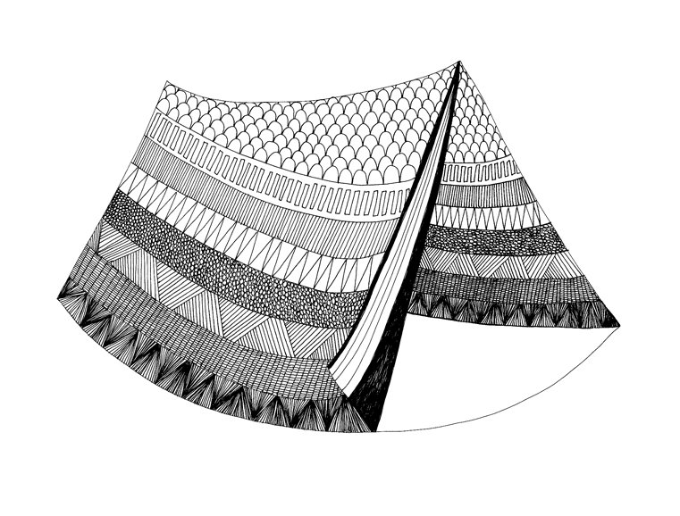 Tent - Pen & Ink Illustration by Virginia Kraljevic