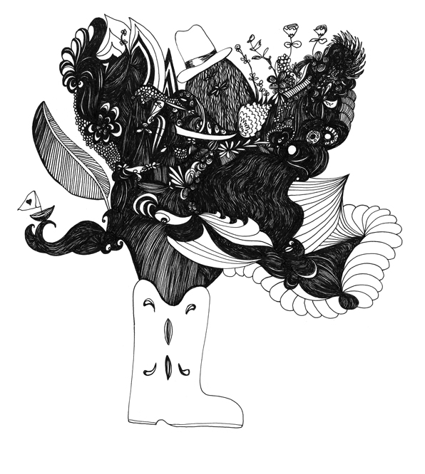 Boot Vase - Pen & Ink Illustration by Virginia Kraljevic