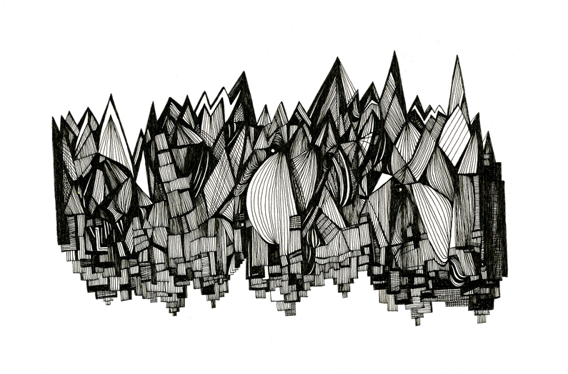 Buildings & Icicles - Pen & Ink Illustration by Virginia Kraljevic